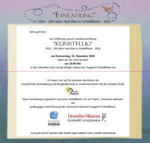 Einladung zur Vernissage Paul Klee Sonderausstellung