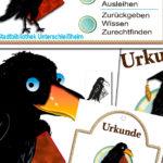 Der Rabe Arthur als Sympathieträger für den Bibliotheksführerschein der Stadtbibliothek Unterschleißheim. Entwurf und Reinzeichnung, Urkunden, Flyer, Stempel, Namensfindung.