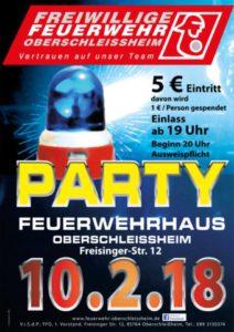 Party Freiwillige Feuerwehr Oberschleißheim. Plakate und Flyer.