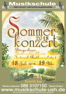 Plakat Sommerkonzert 2018, Musikschule Unterschleißheim
