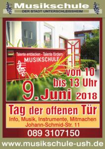 Plakat Tag der offenen Tür 2018, Musikschule Unterschleißheim