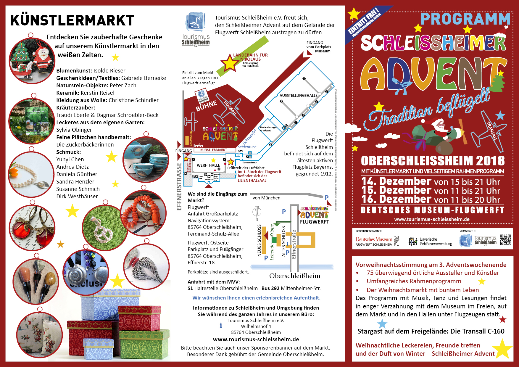 Schleißheimer Advent 2018. Programm.Weihnachtsmarkt organisiert von Tourismus Schleissheim e.V. Auf dem Gelände der Flugwerft Schleissheim jeweils am 3. Adventswochenende. Plakatmotiv und Logos wurden gestellt.