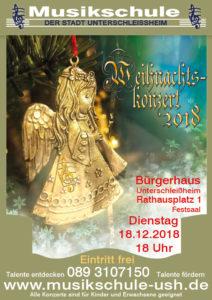 Plakat Weihnachtskonzert Musikschule Unterschleißheim 2018.