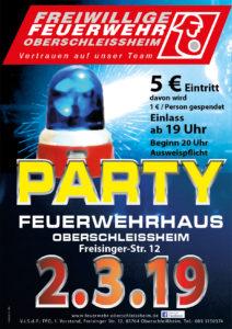 Party. Plakat und Flyer für Freiwillige Feuerwehr Oberschleißheim