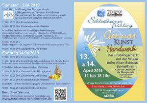 Programm Schleissheimer Fruehling 2019. Für Tourismus Schleißheim.e.V.. Oberschleißheim, Logos und Fotos wurden gestellt.