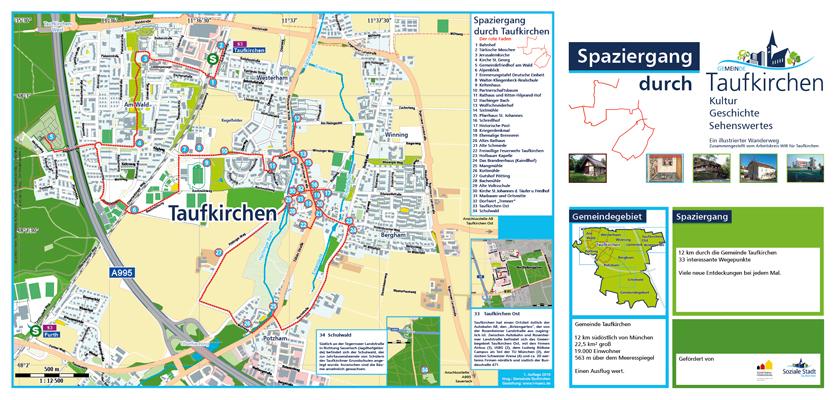 Karte auf Basis von openstreetmap daten angepasst an CD von Taufkirchen. Karte auf Vectorbasis frei skalierbar.Spaziergang durch Taufkirchen.