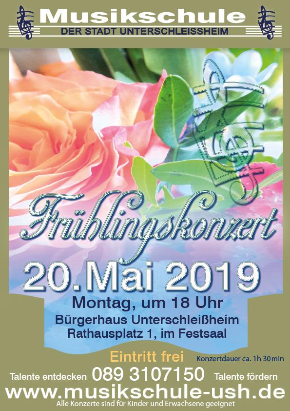 Frühlingskonzert Musikschule Unterschleißheim. Plakat, Programm Frontseite und Anzeige.