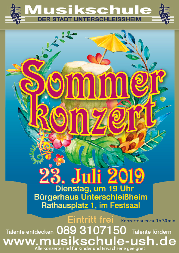Plakat Sommerkonzert Musikschule Unterschleißheim
