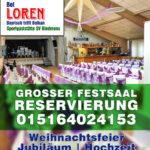 Reservierung Festsaal für facebook. Textlogo.