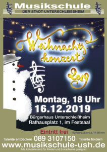 Plakat Weihnachtskonzert für Musikschule Unterschleißheim