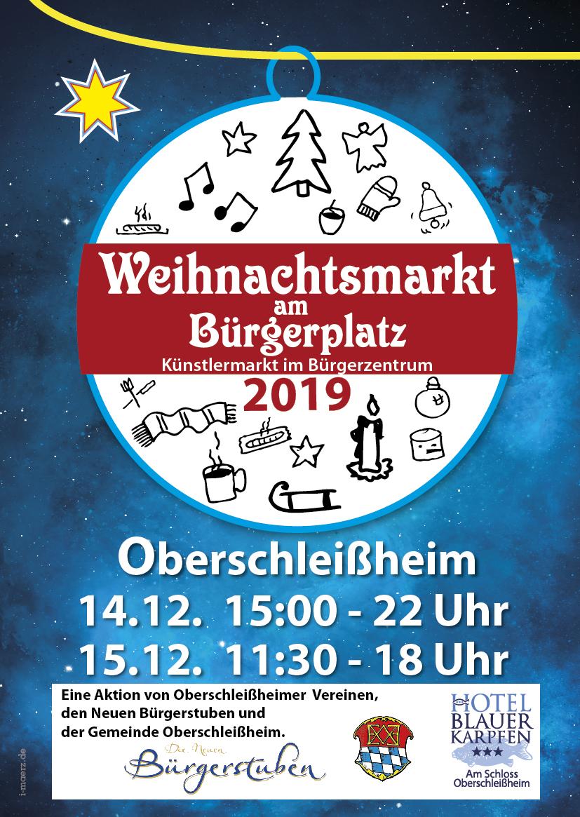 Weihnachtsmarkt am Buergerplatz Oberschleissheim 2019. Plakat mit individuellen icons und Infoflyer.