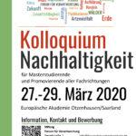 Kolloquium Nachhaltigkeit 2020. Plakat-Layout und Druckvermittlung an zertifizierte Druckerei.