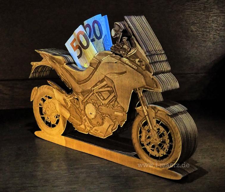 Geschenkbox Lasercut Spardose Motorrad. Sonderanfertigung