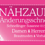 Banner Nähzauber. Straßenwerbung für Änderungsschneiderei NÄHZAUBER. Format 150 cm x 70 cm. Neugestaltung für Firmengründung