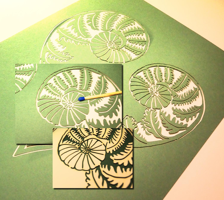 Lasercut. Farne für Hochzeitseinladung. Gestaltungsvorlage des Kunden.